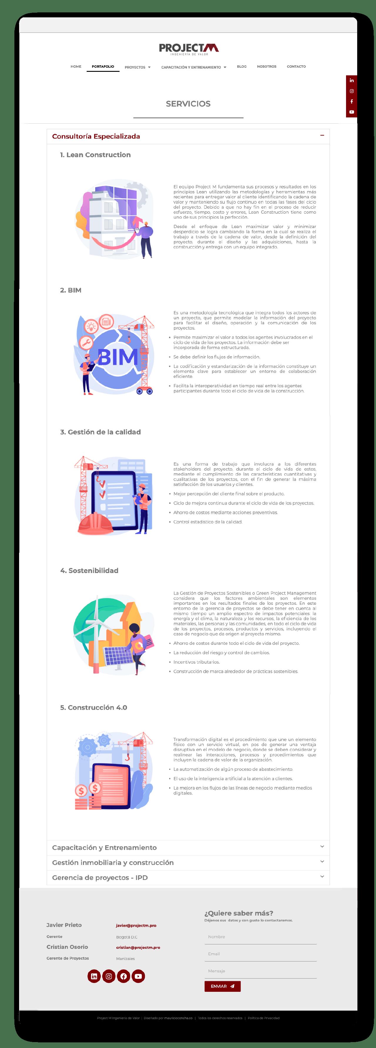 Website Elementor Project M