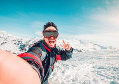 Montaje Gafas Ski Rojo